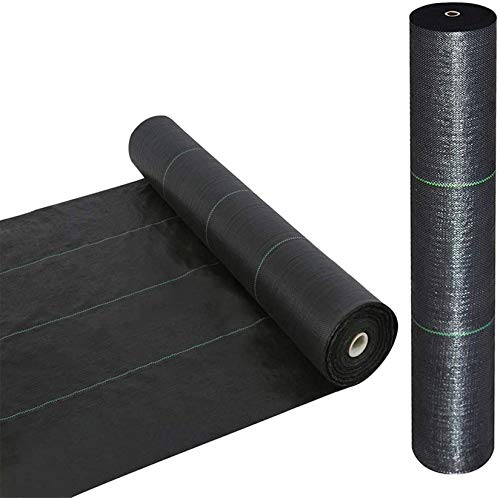 Goasis Lawn Weed Barrier Control Fabric Ground Cover Membrane Garden Landscape Driveway Weed Block Nonwoven Heavy Duty 125gsm Black,3FT x 100FT