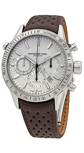 Raymond Weil Freelancer Stainless Steel Automatic Chronograph Men's Brown Leather Strap Watch Date 7740-STC-30001