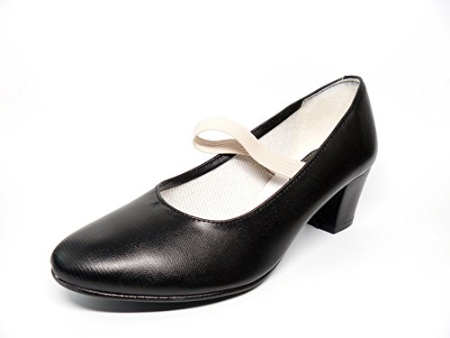 Zapato Flamenca en Polipiel Color Negro - tacón Cubano - sujeción Goma - Hecho en España