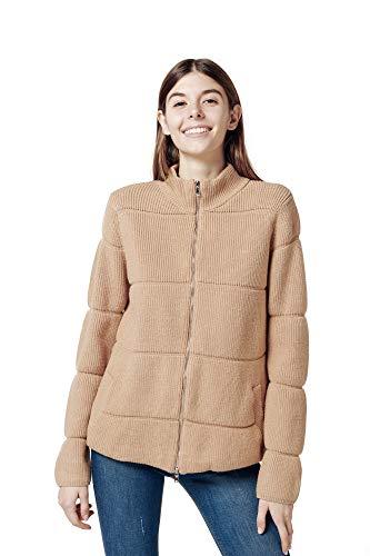Finery Abrigo de mujer con capucha/sin capucha de manga larga estilo casual y elegante cárdigan con cremallera para otoño e invierno Camello S-M