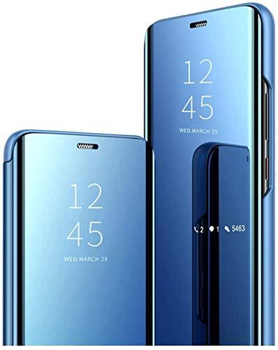 Funda Compatible con Xiaomi Redmi Note 10 5G Funda Espejo Flip Cover Xiaomi Redmi Note 10 5G Case Flip, Funda Negro Teléfono Móvil (Azul, Xiaomi Redmi Note 10 5G)