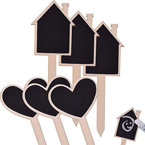 6 Stück TE-DekoArt DIY Pflanzschilder Steckschilder Blumenstecker Holz Tafel Kräutergarten Set Schild Kräuter Beet Beschriftung 16 cm