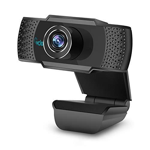 Vcloo Cámara PC 1080P Full HD con Micrófono, Webcam para Streaming Computadora, Webcam Portátil USB 2.0, Webcam para Videol Chat, Cursos Online, Conferencias, Grabación, Juegos con Clip Giratorio