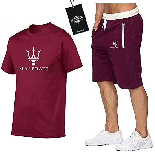 BOLGRTYXC Hombres Y Mujer Camiseta Bermudas Chandal Conjunto por M.Asera-Ti Dos Piezas Corto Manga Tee Pantalones Ropa Deportiva Y/Rojo/M