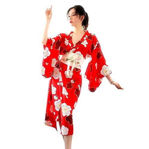 Haizhiyin Frauen sexy Unterwäsche Anzug Pyjamas Satin Seide Spitze Pyjamas Kimono Roben Kirschblüten