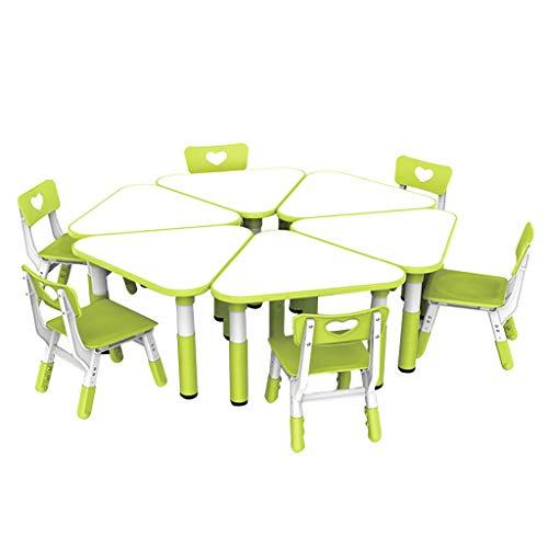 WSJ Kinder höhenverstellbare Tische und Stühle für Kleinkinder, dreieckig, Kunststoff, 6 Tische und 6 Stühle, Set Kindergarte Esstisch Spielstuhl, 6 Tische und 6 Stühle.