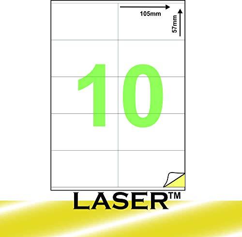 Etiquetas adhesivas multiusos en formato A4, para impresoras láser o de inyección de tinta, 105 x 57 mm, 100 hojas