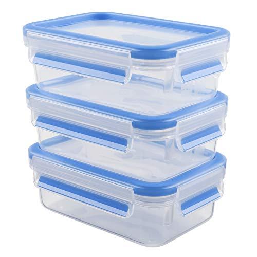 Emsa 508570 - Set de 3 herméticos de plástico, Clip&Close, capacidad 0,55 litros, color transparente y azul, tamaño 4.5 x 8 x 15.5 cm