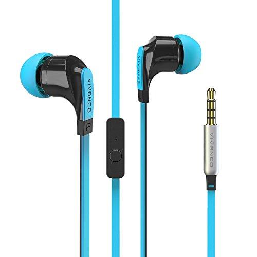 Vivanco Talk In-Ear Stereo Headset mit Mikrofon, Kopfhörer, Ohrhörer für Smartphone, Handy, MP3-Player, mit Fernbedienung und 3,5 mm Klinkenstecker blau