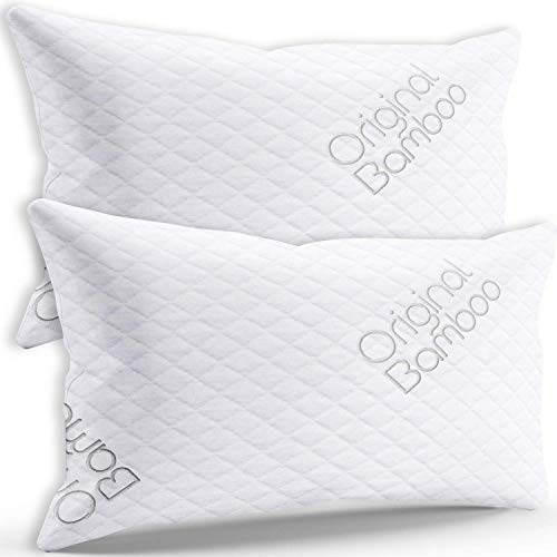 Premium Luxury Pillows for Sleeping - 2 Pack Shredded Memory Foam Adjustable Firm or Soft Loft Standard Queen Pillow Cooling Removable Soft Cover - Side Sleepers, Back Sleepers