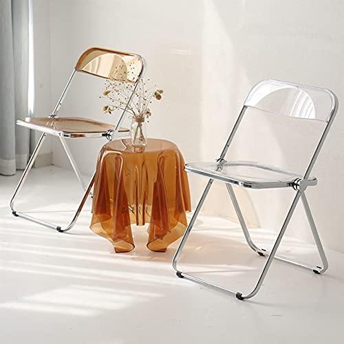 JXZO Silla Plegable Transparente Silla de Comedor Silla para el hogar Silla de plástico para el Respaldo (Color : Amber)