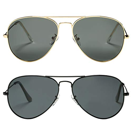 2 Pack of Classic Polarized Aviator Sunglasses for Adults, Many colors available