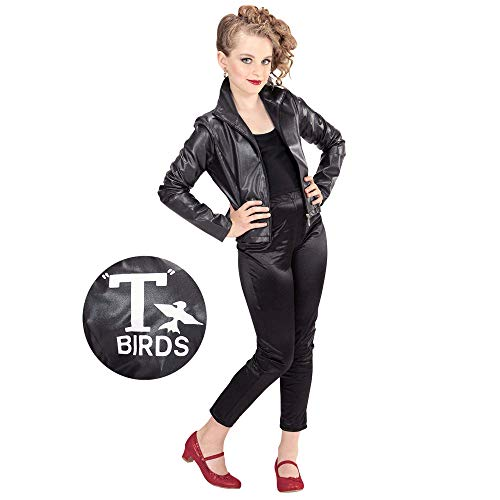 Widmann 97379 Kinderkostüm Greaser Girl, Mädchen, Schwarz, 164 cm