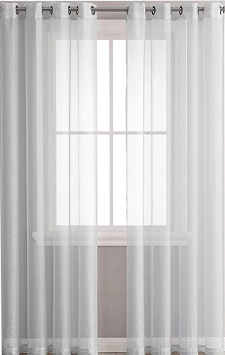 """Ruthy's Textile 2 Piece Window Sheer Curtains Grommet Panels 54"""" X 84"""" Total 108"""" X 84"""" Inch Length for Bedroom/Living Room Color: Light Grey"""