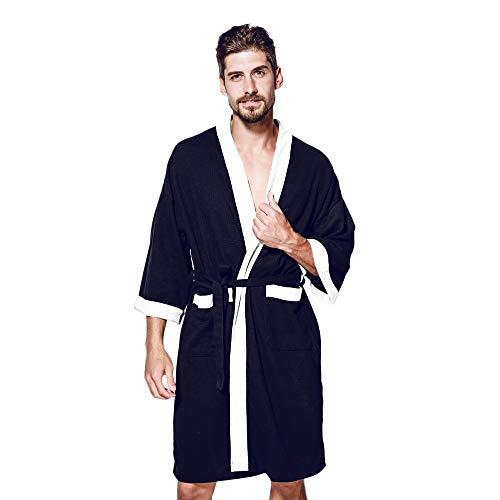 MAYOGO Nachthemd Herren Baumwolle, Knielänge Bademantel Herren der Baumwolle Leinen,Negligees Morgenmantel Saunamantel in 4 Farben
