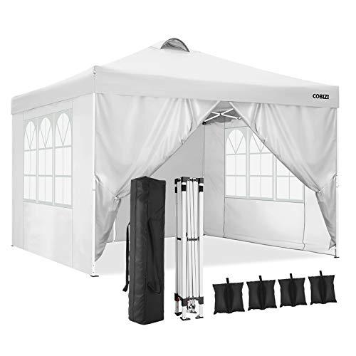 Cobizi Tonnelle 3x3m Tente Pliante imperméable Tonnelle de Jardin Gazebo Pliable Pavillon de Jardin Tente de Reception avec Purgeur d air, 4 Côtés, 4 Sacs de Poids(3 x 3 M, Blanc)