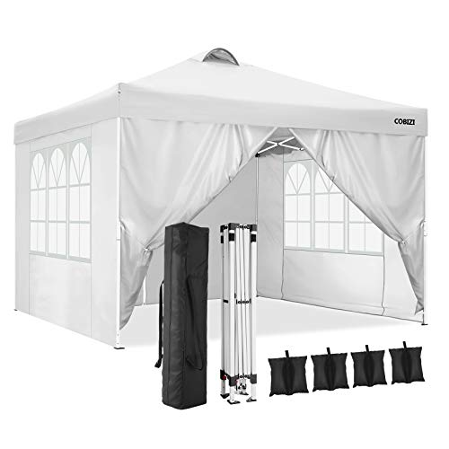 COBIZI Canopy Tent Popup Canopy 10x10 Commercial Instant Canopies Gazebo with Vent, Outdoor Party Canopies with 4 Removable Sidewalls and Carry Bag, 4 Weight Bags, 8xStakes&4xRopes (White)