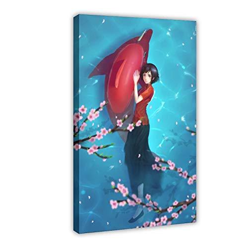 Anime Big Fish Begonia Qiu.18 Leinwand-Poster, Wandkunst, Dekordruck, Gemälde für Wohnzimmer, Schlafzimmer, Dekoration, 50 x 75 cm, Rahmen