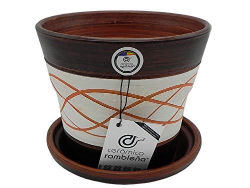 CERÁMICA RAMBLEÑA   Macetas de Barro Rojo   Macetas Decorativas   Macetas de cerámica   Macetas Exterior   Hilo-Nogal   Decoración 100% Hecho a Mano   20x20x18 cm   Plato Incluido