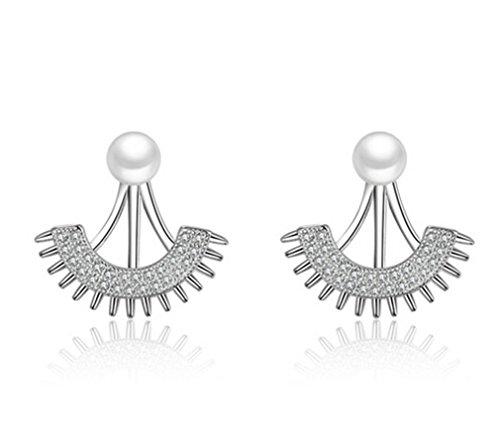 Boowhol Pendientes para mujer y niña, con perlas y circonitas, plata de ley 925, elegantes pendientes como regalos para amigas