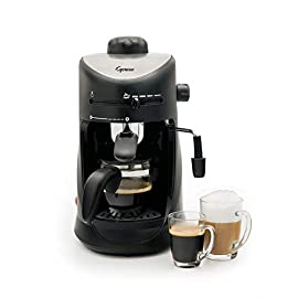 Capresso 303.01 4-Cup Espresso and Cappuccino Machine 1 SAFETY BOILER CAP: Built-in safety valve prevents hot steam from escaping GLASS CARAFE: Includes 4-cup glass carafe to brew up to four espressos at once FROTHER: Adjustable steam output for perfectly frothing or steaming milk for cappuccinos and lattes