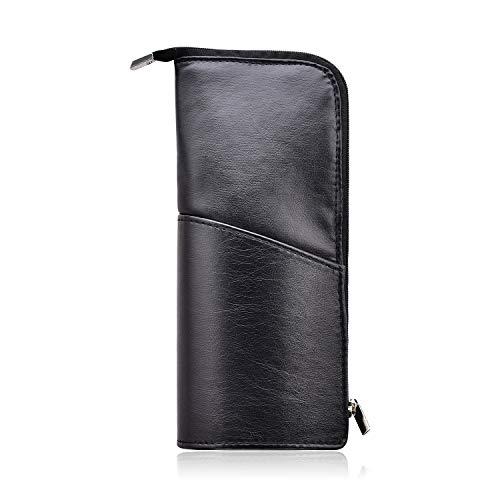 Makeup Brush Holder Organizer Bag Professional Artist Brushes Travel Bag Storage Pouch Cosmetic Case Luxury PU Leather Pencil Slim Design with Metallic Zipper Pocket Size for Pen Make Up Brush - Black