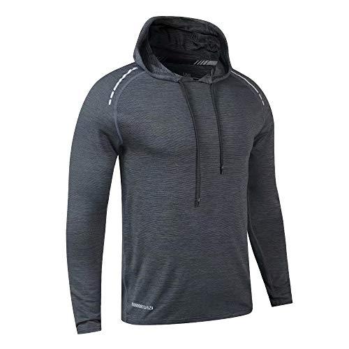 Herren Bodybuilding Sweatshirts Active Hoodies Relaxed Fit für Laufhemden Dunkelgrau L