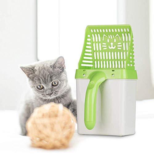 Newest Cat Litter Scoop con Scatola, Tutto in Uno Gatto lettiera Paletta con Attrezzi per la Pulizia del Letame con Pala Profonda con Sacchetti di rifiuti Extra (Green)