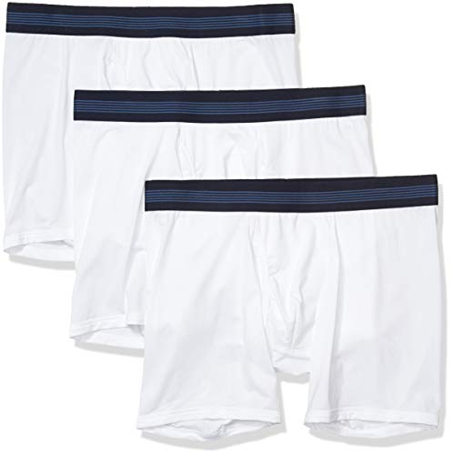Goodthreads 3-Pack Lightweight Performance Knit Boxer Brief Calzoncillos Tipo, Blanco Brillante, M