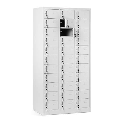 Schließfachschrank 3B11A mit 33 Fächern Metallschrank Wertfachschrank Fächerschrank Spind Metall Pulverbeschichtung 185 cm x 90 cm x 45 cm (Grau)