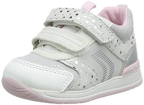 Geox B Rishon Girl A, Zapatillas Bebé-Niñas, White/Silver, 21 EU