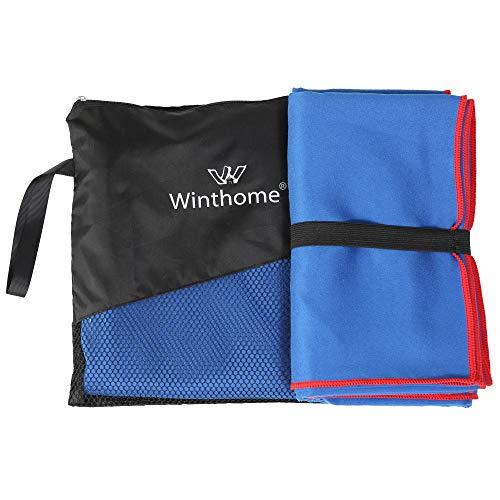 Winthome Strandhandtuch, Ultraleicht Kompakt Mikrofaser Handtuch, Schnelltrocknend Sporthandtuch Microfaser Handtücher Reisehandtuch für Fitness Sauna Sport Yoga(90*200 Blau)