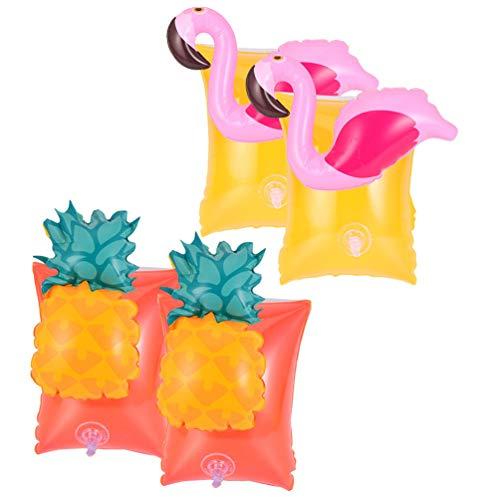 Amosfun 2 pares de pulseras hinchables para niños, con flamencos, piñas, manguitos flotadores, manguitos de agua