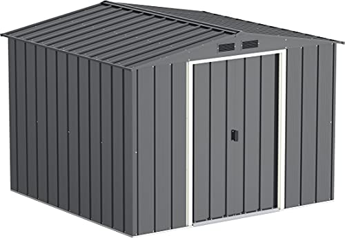 Duramax ECO 8' x 8' Hot-Dipped Galvanized Metal Garden Shed - Anthracite with Off-White Trimmings - 15 Years Warranty