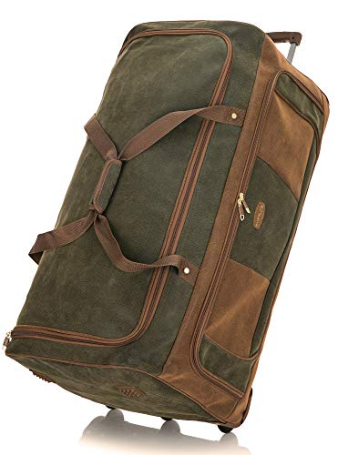 DK Luggage Synthetic Suede Duffle Holdall XXL 33' Bag 3 Wheel with Tan Trimming Green