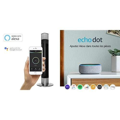 Princess Ventilateur Colonne Connecté - 105 cm - Contrôlable depuis Application - 50 Watt + Echo Dot (3ème Génération), Enceinte Connectée avec Alexa, Tissu Gris Chiné