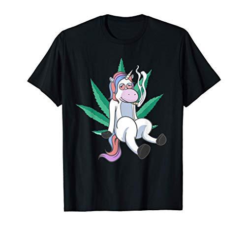 Stoned High Unicorn Marihuana Cannabis Stoner Unicorns Weed Camiseta