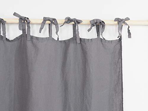 Grau Leinen Vorhang mit Krawatten | Krawatte oben Leinen Vorhang Panel | Leinen Vorhang