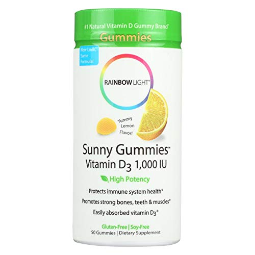 Rainbow Light - Sunny Gummies Vitamin D3 1000 IU, Support for Healthy Bones, Muscles, and Immunity in a Family-Friendly Chewable with Vitamin D3, Soy-Free, Gluten-Free, Sour Lemon, 50 Gummy Drops