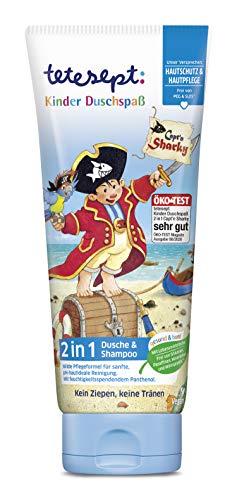 tetesept Kinder Duschspaß Capt'n Sharky – Sanfte Reinigung ohne Ziepen oder Tränen – Für Kinder ab 3 Jahren – 1 x 200 ml