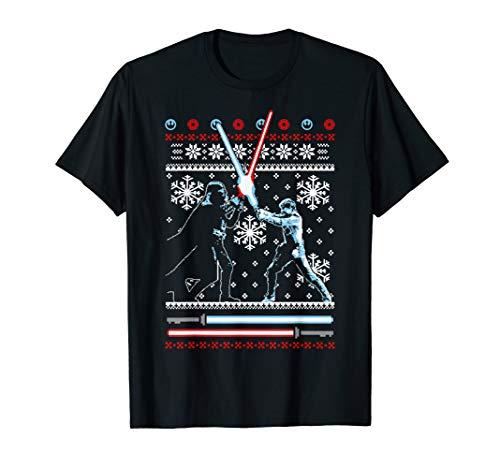 Star Wars Luke & Vader Lightsaber Battle Holiday Pattern T-Shirt