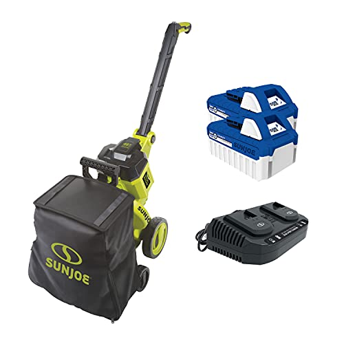 Sun Joe 24V-X2-OGV 48-Volt iON+ Cordless Outdoor Garden Vacuum/Mulcher, 850 CFM, 15:1 Mulch Ratio, w/ 2 X 4.0-Ah Batteries and Charger