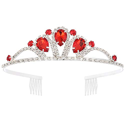 Princess Tiara Crown with Comb Wedding Queen Cosplay Christmas for Women, Girls Gift (Red)