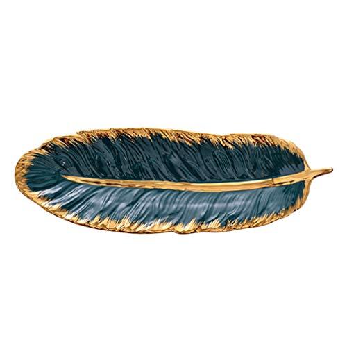 Cabilock - Vassoio per gioielli, in ceramica, forma a piuma, per antipasti, snack, piatto decorativo, misura L