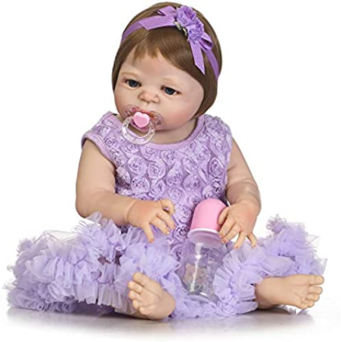 IIWOJ Baby wiedergeborene Doll, Cute Silicone Vinyl 22.05 Inch Acryl-Augen-lebensike Neugeborene Safe Non Toxic Holiday Presents