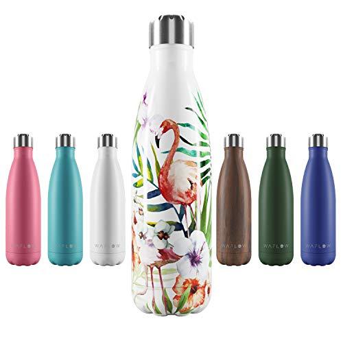 WAFLOW | Botella de Acero Inoxidable 304 Premium | 500 ml | Mantiene 12h calor/24h frío | Resistente a arañazos, corrosión y Fugas | Protege el Medio Ambiente | 100% Libre de BPA | 10% Donación