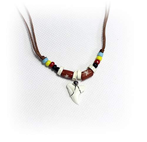 Hejoka-Shop echter Haizahn Kette Hai Zahn Haifischzahn ca. 15 x 15 mm. Surferkette mit Perlen und farbigen Bone