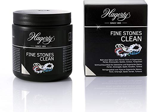 Hagerty Fine Stones Clean Schmuck-Tauchbad 170 ml I Effektiver Reiniger für Schmuck mit Smaragden Perlen Opalen Korallen Türkisen I Schmuckreiniger für Halbedelsteine & Schmucksteine mit Tauchkorb
