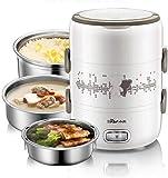 GOHHK Fiambrera con calefacción eléctrica, Calentador portátil Almacenamiento Alimentos 1,5 l con Recipiente extraíble Acero Inoxidable y PP