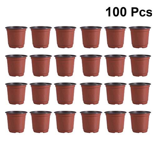 Hemoton 100St Plastic Bloempot Ademende Bloempot Vetplanten Bloempot Wastafel Pot - Diameter 90Mm (Bruin)